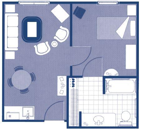 """One-Bedroom Floor Plans – 20'7"""" x 19'3"""""""