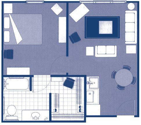 """One-Bedroom Deluxe Floor Plans – 24'2"""" x 21'3"""""""