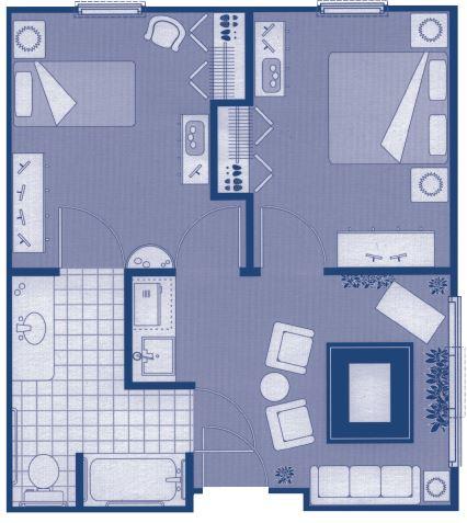 """Two-Bedroom Floor Plans – 20'7"""" x 25'2"""""""