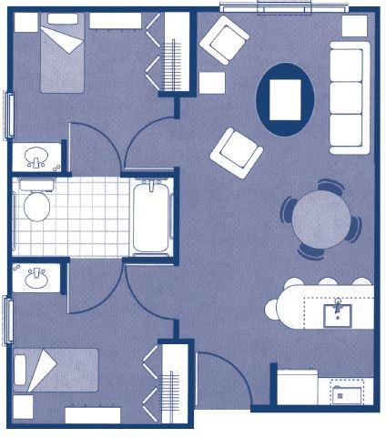 """Two-Bedroom Deluxe Floor Plans – 29'7"""" x 21'3"""""""